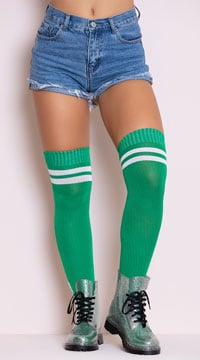 Ribbed Athletic Thigh High Stockings - Kelly Green/White