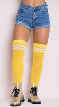 Ribbed Athletic Thigh High Stockings - Yellow/White