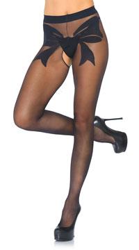 Bow Backseam Crotchless Pantyhose - Black