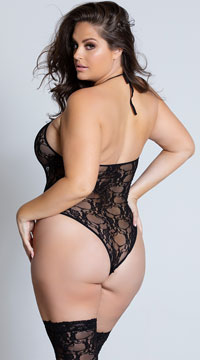 Plus Size Floral Teddy and Stockings - Black