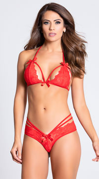Strappy Halter Bra and Brazilian Panty - Red