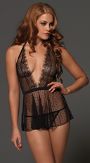 Point D'esprit Halter Babydoll - Black