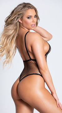 Fishnet G-String Teddy - Black