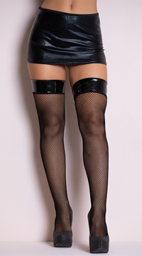 Fishnet Stocking With Vinyl Top - Black