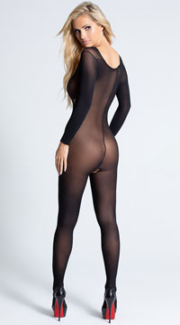 Sheer Long Sleeve Bodystocking - as shown