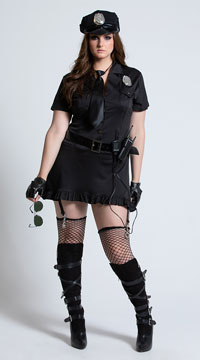 Plus Size Dirty Cop Halloween Costume - Black