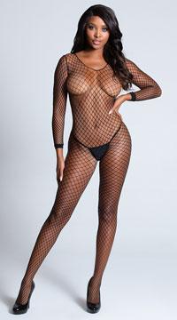 Lycra Net Bodystocking - Black