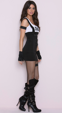 Sultry SWAT Officer Costume - Black