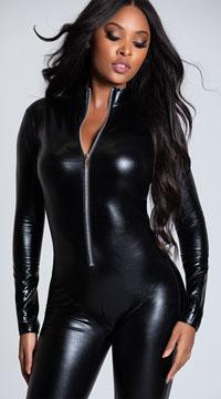 Black Wet Look Catsuit - Black
