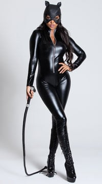 Black Wet Look Catsuit - as shown