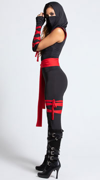 Deadly Ninja Costume - Black/Red