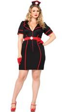 Plus Size Night Nurse Costume - Black/Red