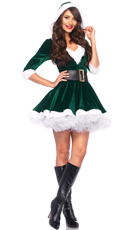 Santa Baby Velvet Holiday Dress - Green/White