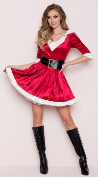 Santa Baby Velvet Holiday Dress - Red/White