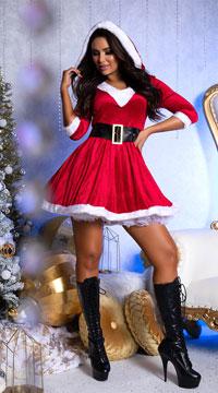 Santa Baby Velvet Holiday Dress - Red/White