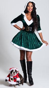 Santa Baby Velvet Holiday Dress - Green/White