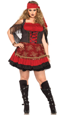Plus Size Mystic Gypsy Pirate Costume - Burgundy/Black