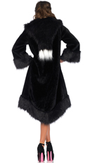 Satin Lined Faux Fur Coat - Black/Purple