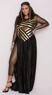 Plus Size Goddess Isis Costume - Black/Gold