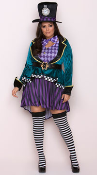 Plus Size Delightful Hatter Costume - Multicolor