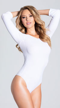 Opaque Long Sleeve Bodysuit - White