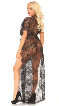 Eyelash Lace Long Kaftan Robe Set - Black