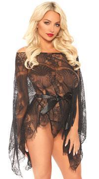 Eyelash Lace Mini Kaftan Robe - Black