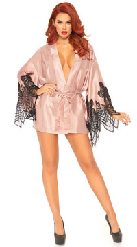 Eyelash Lace Flared Sleeve Robe - Rose