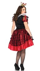 Plus Size Royal Red Queen Costume - Black/Red