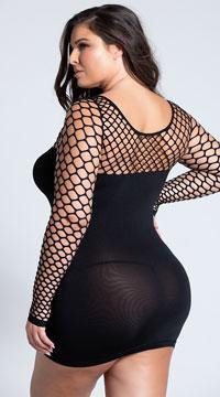 Plus Size Diamond Net Seamless Mini Dress - Black