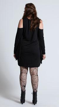 Plus Size Jersey Spiderweb Dress Costume - Black