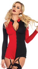 Sexy Harlequin Romper - Black/Red