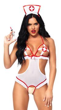 Naughty Night Nurse Lingerie Costume - White/Red