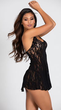 Rose Lace Flared Chemise Set - Black