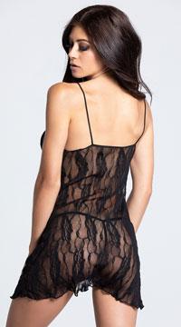 Romantic Lace Babydoll Set - Black