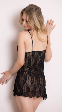 Romantic Lace Babydoll Set - Black