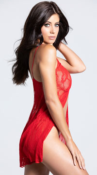 Romantic Lace Babydoll Set - Red