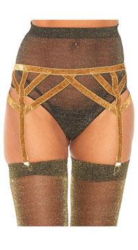 Shimmer Lurex Elastic Garter Belt - Gold
