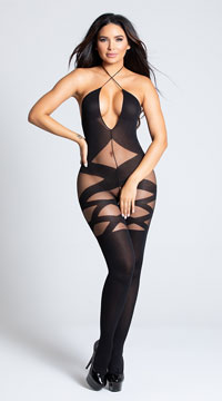 Opaque and Sheer Illusion Bodystocking - Black