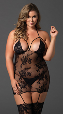 Plus Size Mesh and Lace Cage Suspender Bodystocking - Black