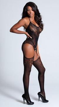 Seamless Jacquard Lace Black Bodystocking - Black