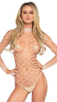 High Neck Fence Net Bodysuit - White