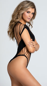Slashed Cut-Out Bodysuit - Black
