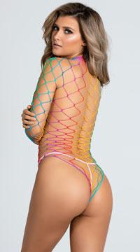 Dream In Color Fence Net Bodysuit - Rainbow