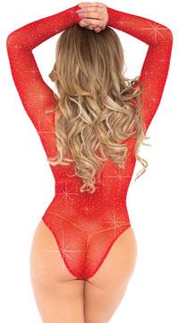 Crystal Long Sleeve Fishnet Bodysuit - as shown