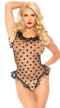 Feisty in Frills Sweetheart Teddy - Black