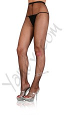 Plus Size Nylon Fishnet Pantyhose - Black