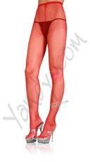 Plus Size Nylon Fishnet Pantyhose - Red