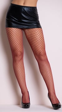 Fence Net Pantyhose - Burgundy
