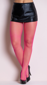 Fence Net Pantyhose - Neon Pink